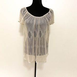 COPY - LUCKY BRAND SEQUINED SEE-THROUGH TOP